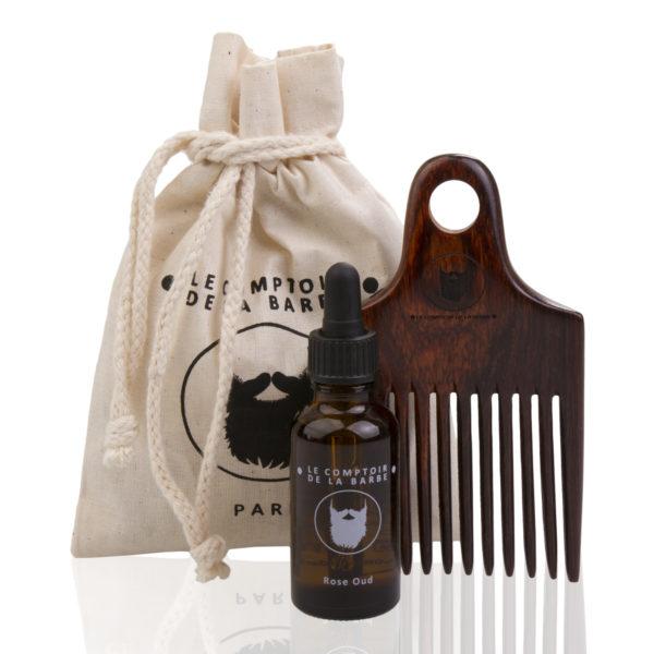 Kit Afro - huile à barbe, peigne en bois palissandre