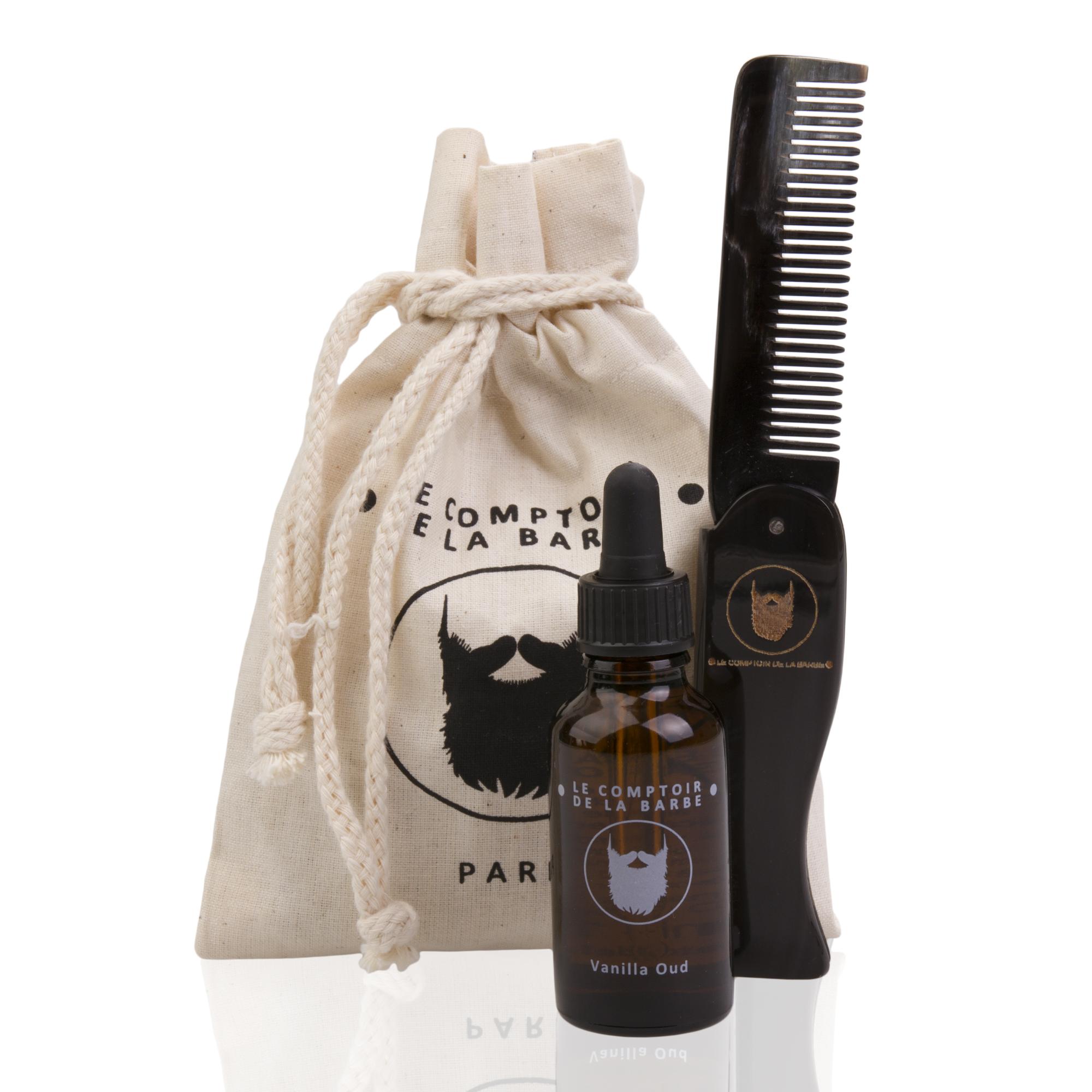 kit voyage, huile à barbe et peigne en corne véritable naturelle